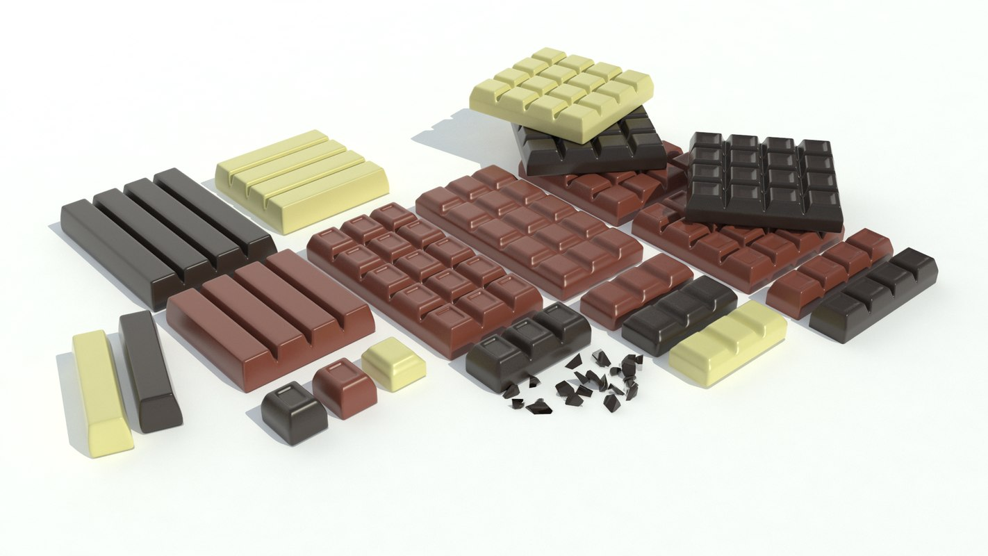 realistic chocolate bar sets 3d model