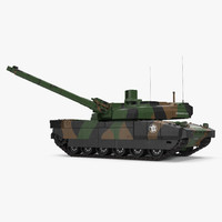AMX 56 Leclerc French Main Battle Tank Rigged 3D Model