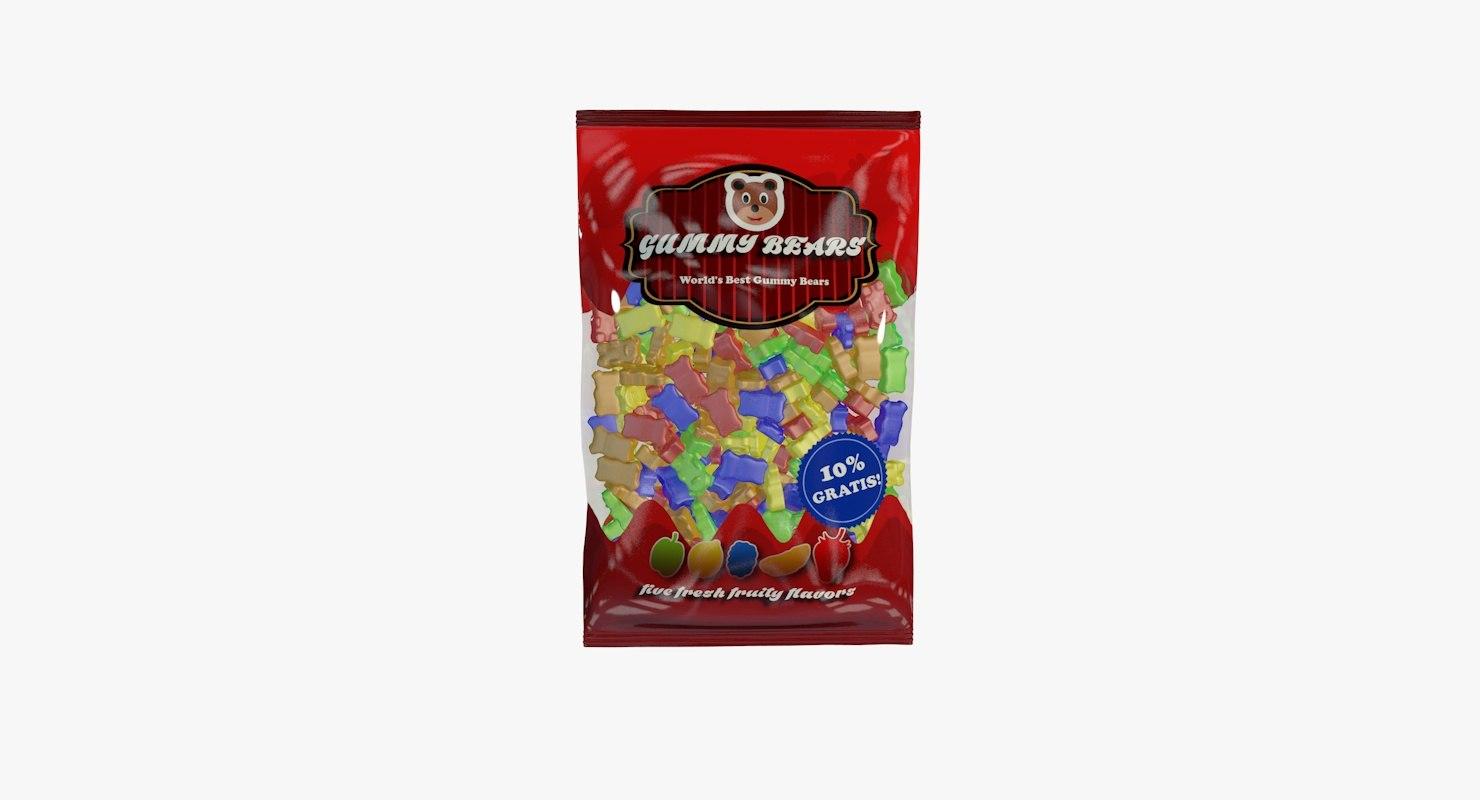 gummy bears bag 3d max