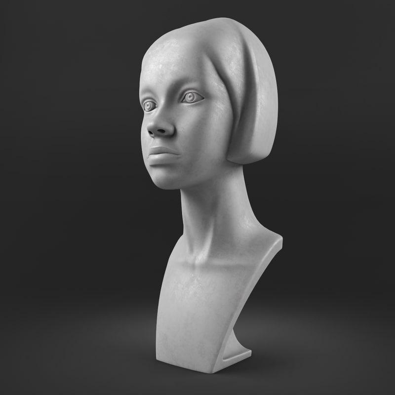 3d model girl head mannequin m001