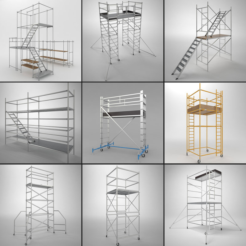3d scaffold towers set
