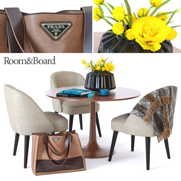 3d table chairs room board model