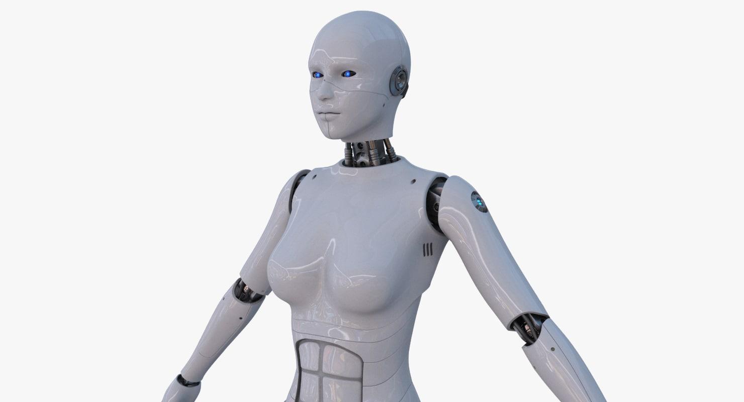 sci-fi female cyborg 3d max