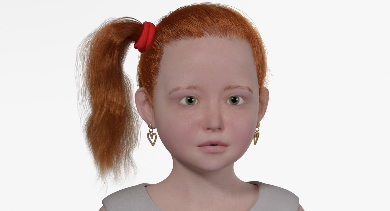 3d model rosemary realistic child rig