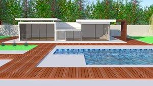 modern house exterior hi-tech 3d model