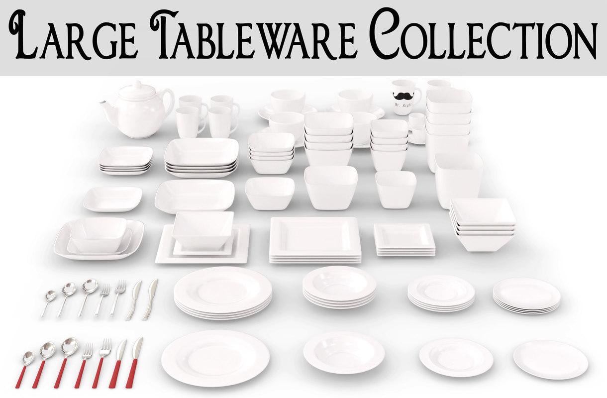 3ds large tableware plates set