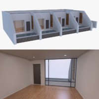 3d model modern resort building interior