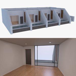 3d model modern resort building interior