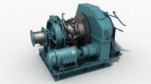 winch machinery chain 3d model