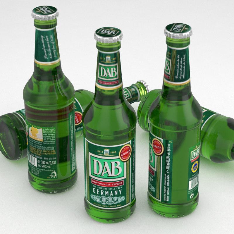 3d model beer bottle dab dortmunder
