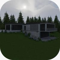 3d model modern house exterior scene
