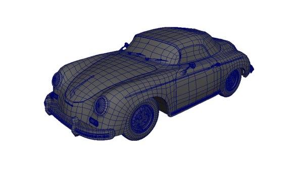 modeled porsche 356a speedster 3d blend