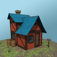 low-poly fantasy house max