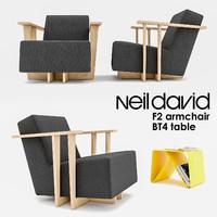 3d model of neil david f2 armchair