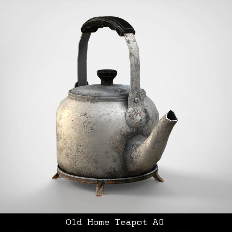 3d model old home teapot