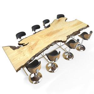 3d model live edge wooden table
