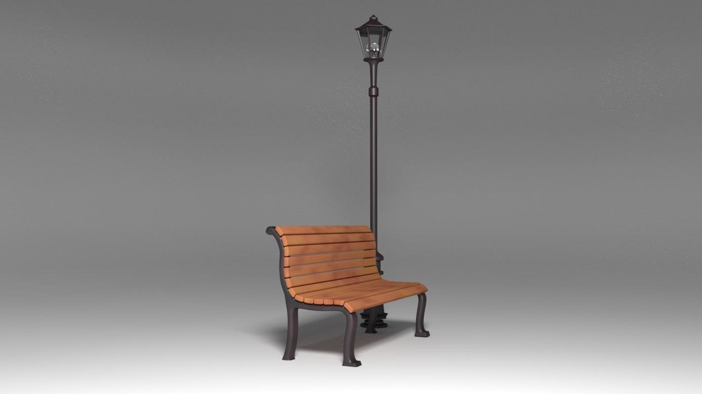 3d bench lamp model