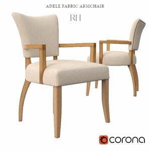3d model adele fabric armchair