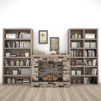 3d model books shelves decor set