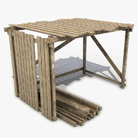 3d shed wooden wood