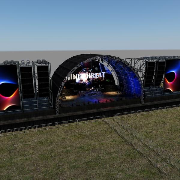 3d model of scene live stage lights