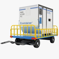 3d airport luggage trailer