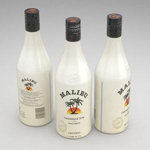 malibu rum bottle 3d max
