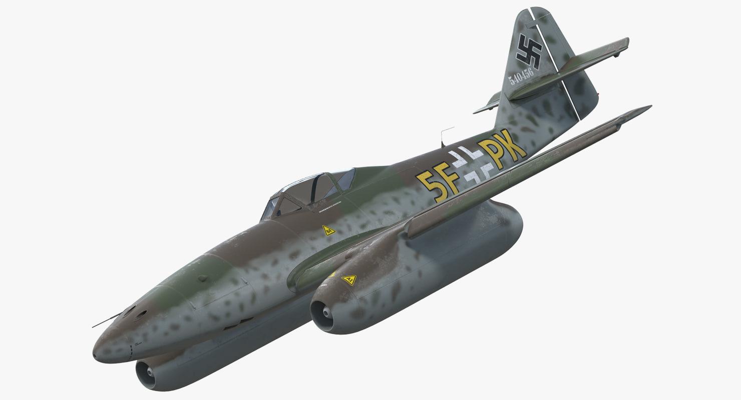 fighter aircraft messerschmitt 262 3d model