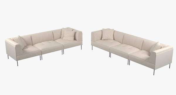 sectional sofa 2 rod 3d max