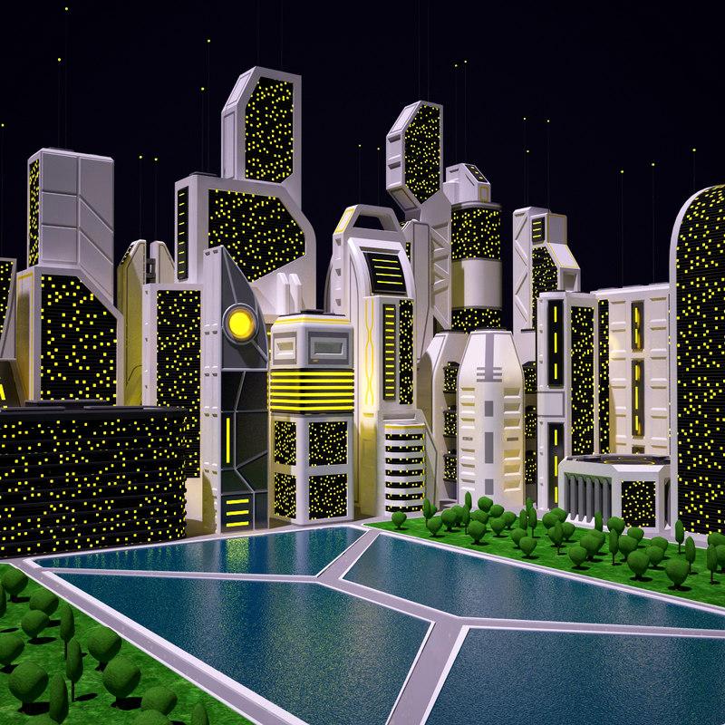 3d future city night futuristic buildings