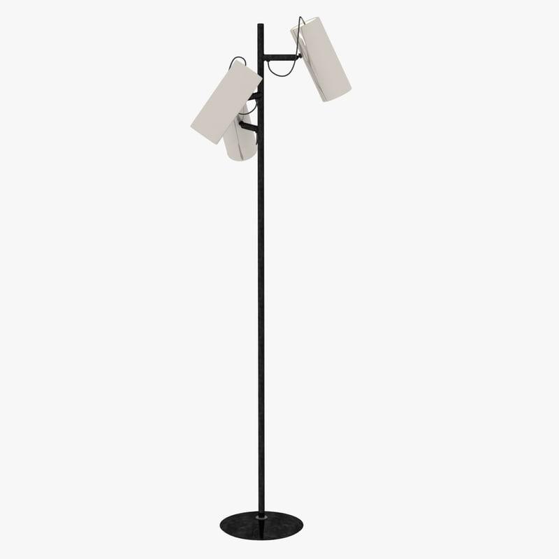 3d model floor lamp white cylindrical