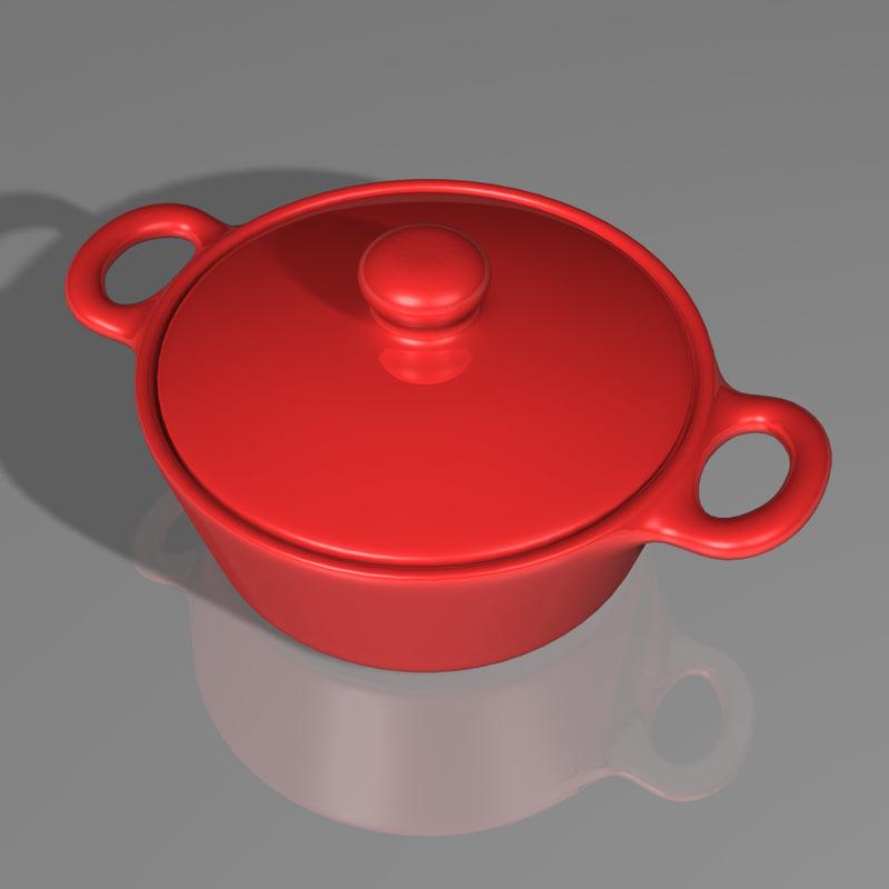 3d cooking pot casserole dish