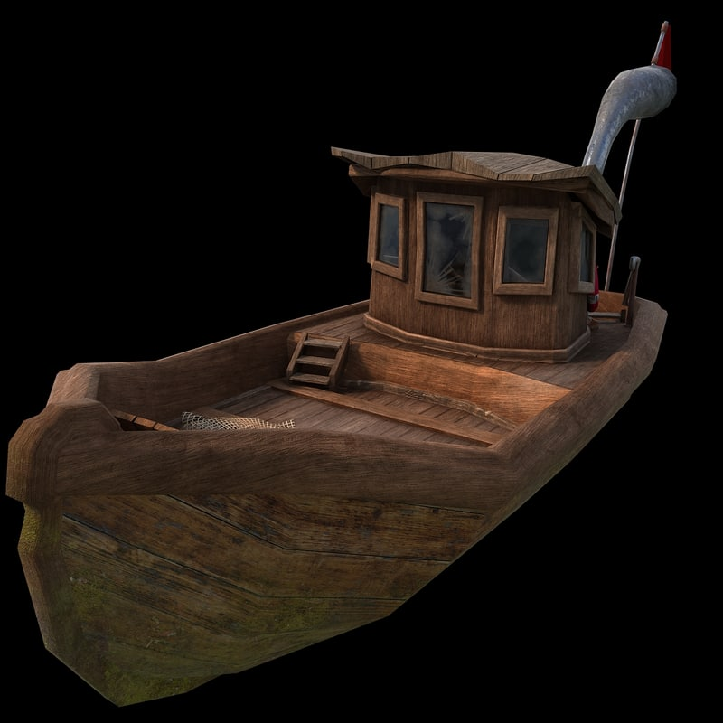 3d model old cartoon boat