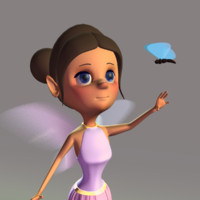 Cartoon Fairy with Butterfly