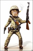 3d model soldier cartoon toon