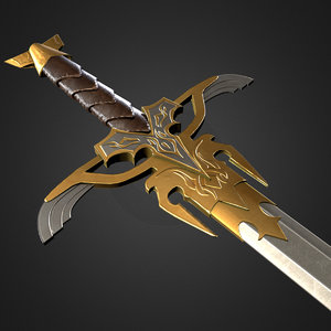 fantasy medieval sword games 3d model