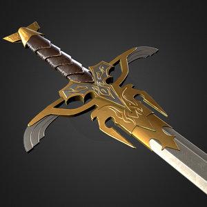 fantasy medieval sword games 3d model