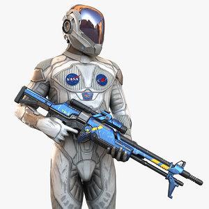 realistic character gun 3d model