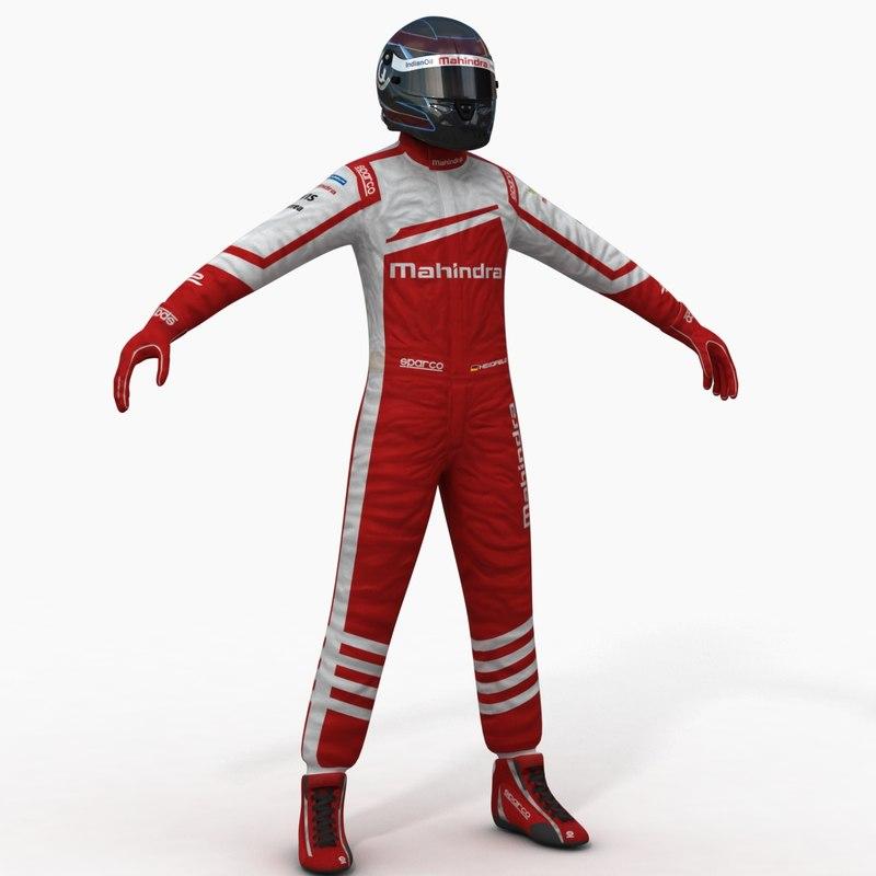 3d model mahindra formula e driver