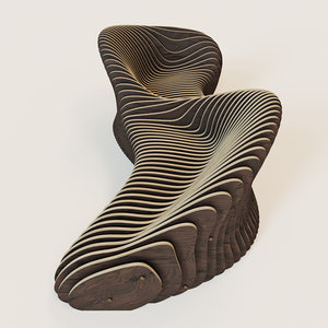 parametric 2 seeted bench 3d x