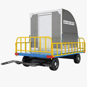 airport luggage trailer 3d model