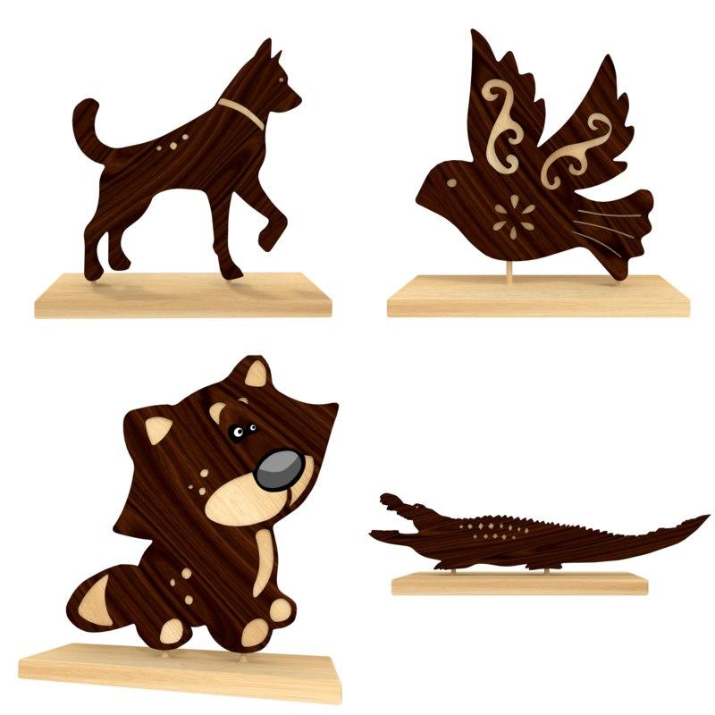 wooden animal figures 3d 3ds
