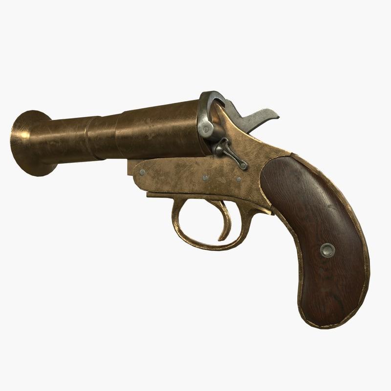 3d model flare pistol
