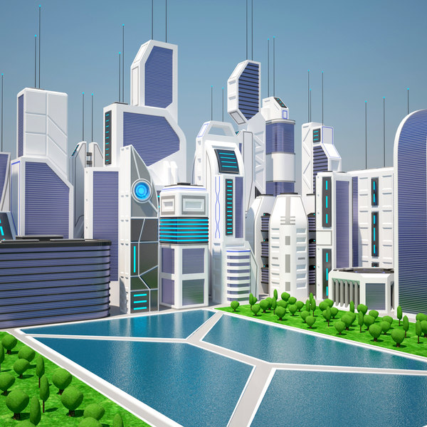 3d future city day futuristic buildings