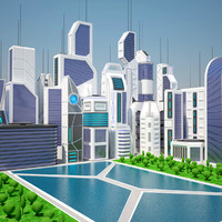 3d future city day futuristic buildings
