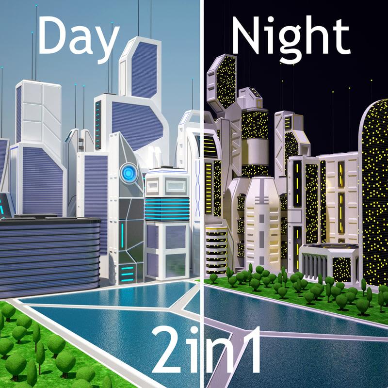 future city day night 3d model
