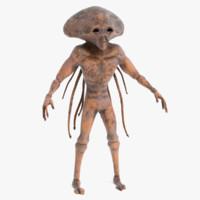 3d sci-fi alien model