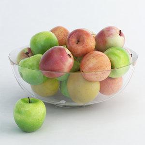 apple glass bowl 3d 3ds