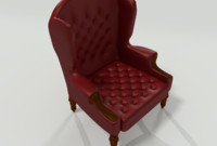3d obj baroque wingback leather chair