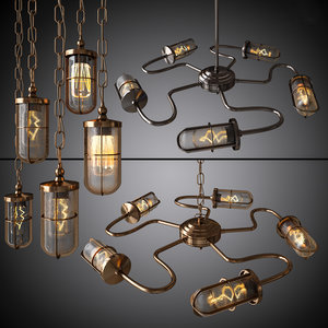 chandeliers pendants breck bar 3d 3ds